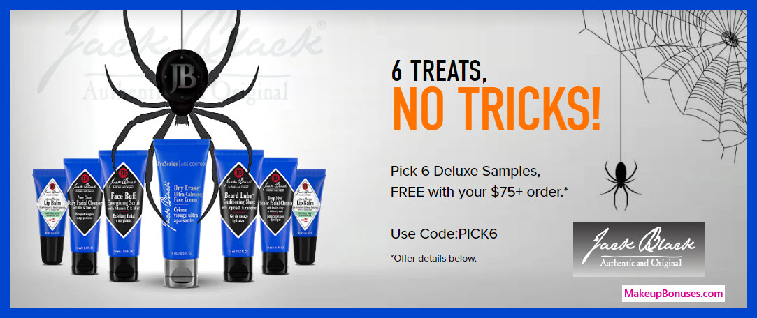 Receive your choice of 6-pc gift with $75 Jack Black purchase #getjackblack