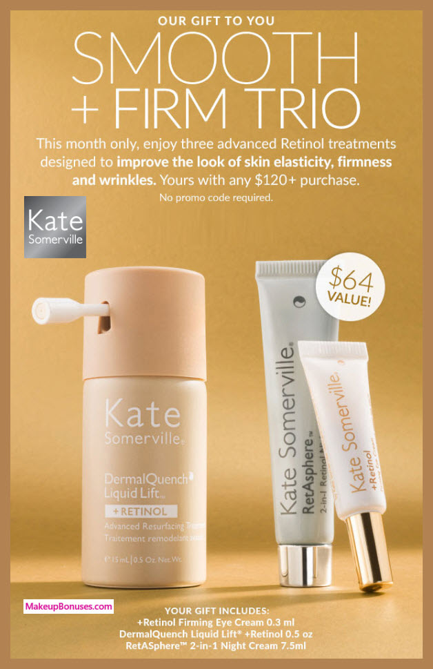 Receive a free 3-pc gift with $120 Kate Somerville purchase #katesomerville