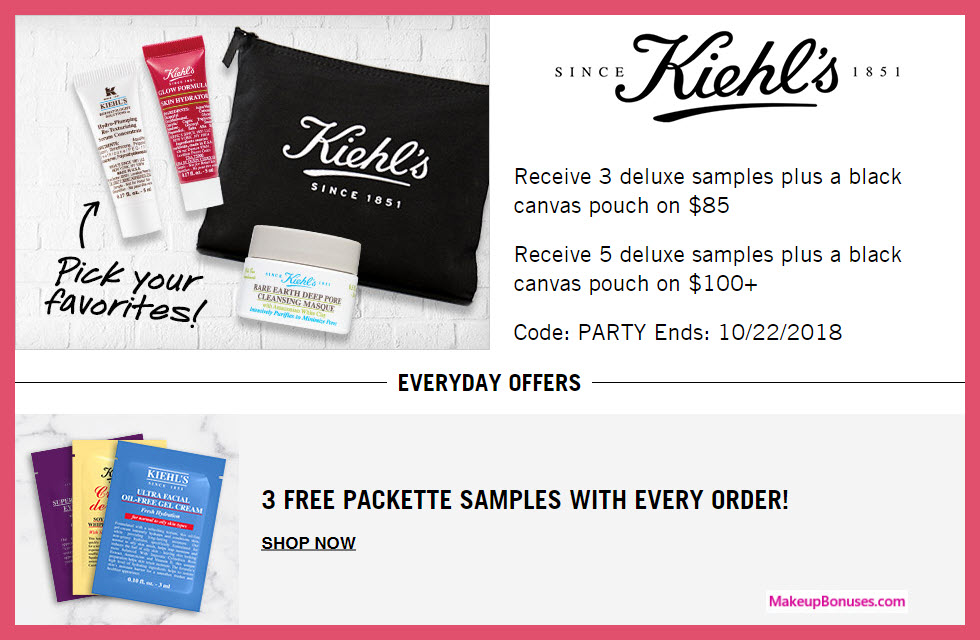 Receive a free 4-pc gift with $85 Kiehl's purchase #Kiehls