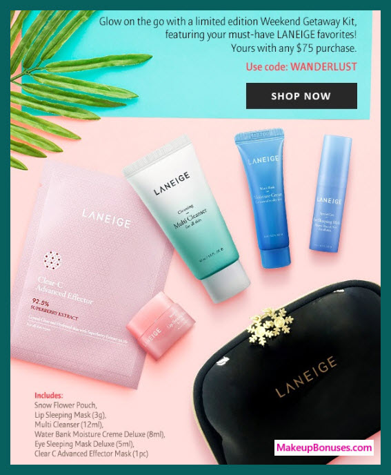 Receive a free 6-pc gift with $75 LANEIGE purchase #laneigeus