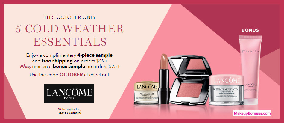 Receive a free 4-pc gift with $49 Lancôme purchase #lancomeUSA