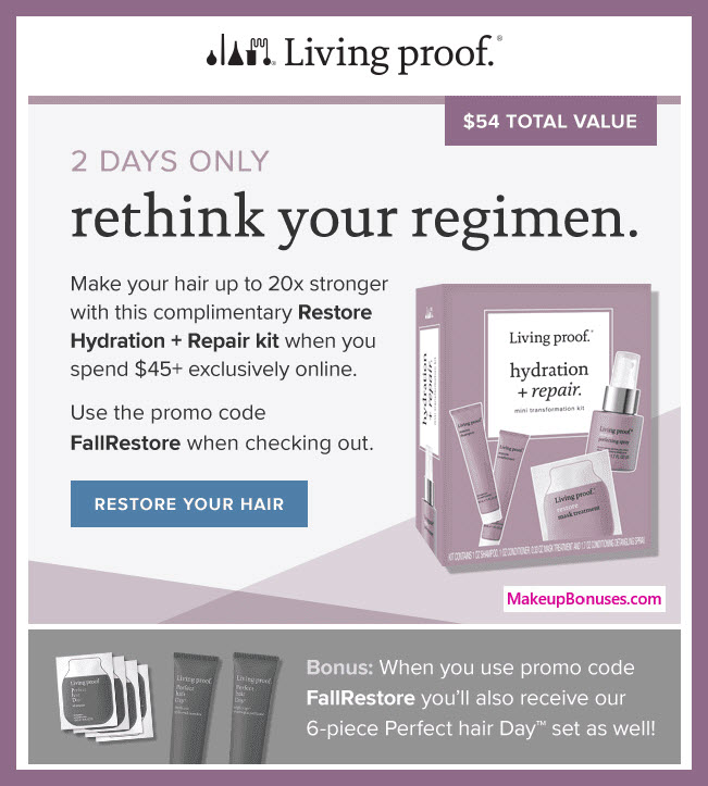 Receive a free 8-pc gift with $45 Living Proof purchase #LivingProofInc