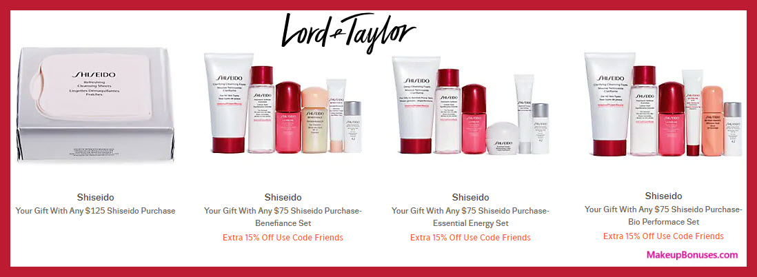 Receive your choice of 6-pc gift with $75 Shiseido purchase #LordAndTaylor