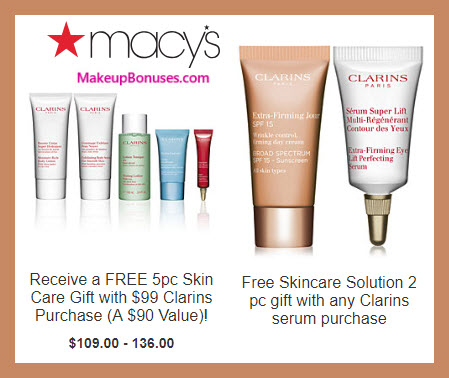 Receive a free 5-pc gift with $99 Clarins purchase #macys