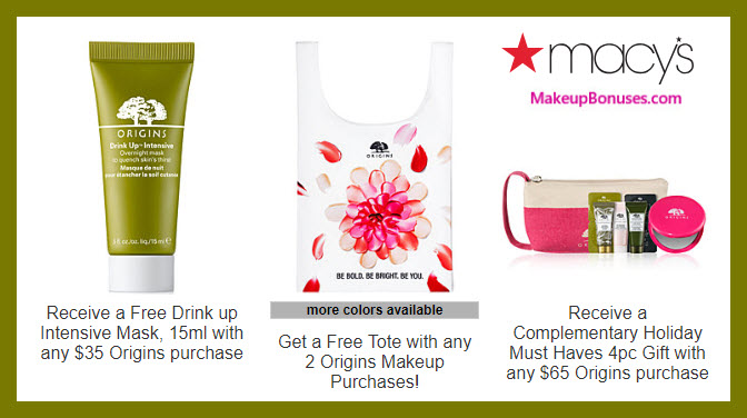 Receive your choice of 5-pc gift with $65 Origins purchase #macys
