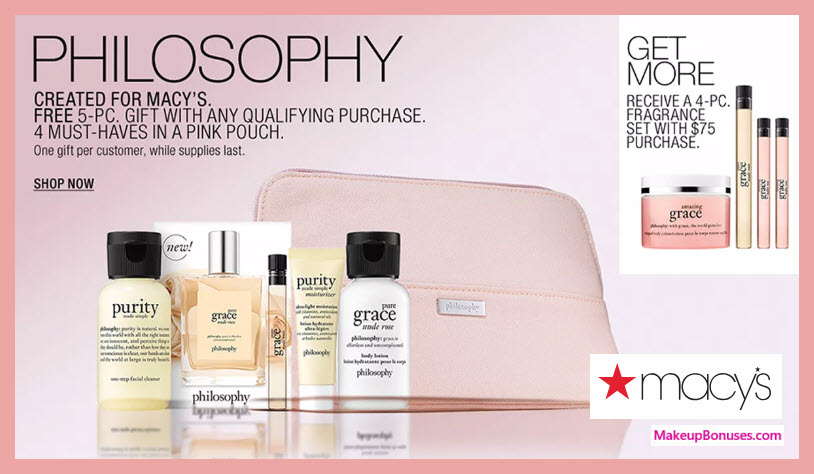 Receive a free 5-pc gift with $36 Philosophy purchase #macys