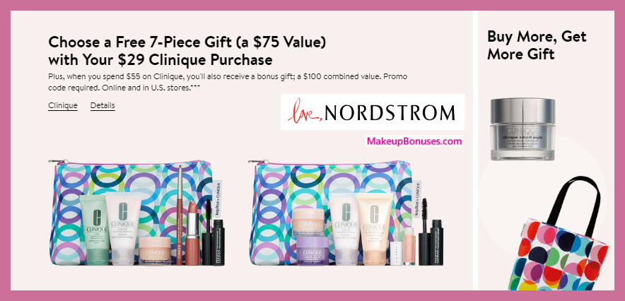 Receive a free 7-pc gift with $29 Clinique purchase #nordstrom