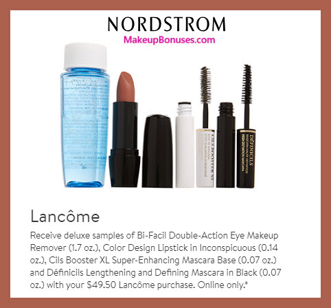 Receive a free 4-pc gift with $49.5 Lancôme purchase #nordstrom