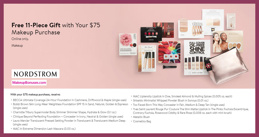 Receive a free 11-pc gift with $75 makeup purchase #nordstrom