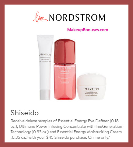 Receive a free 3-pc gift with $45 Shiseido purchase #nordstrom