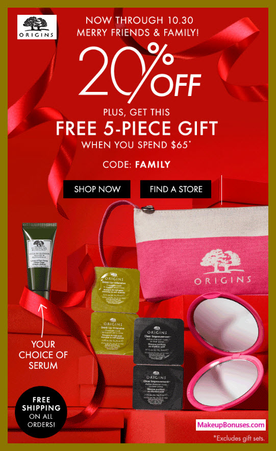 Receive a free 5-pc gift with $65 Origins purchase #origins
