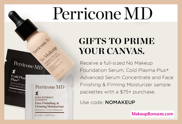 Receive a free 3-pc gift with $75 Perricone MD purchase #PerriconeMD
