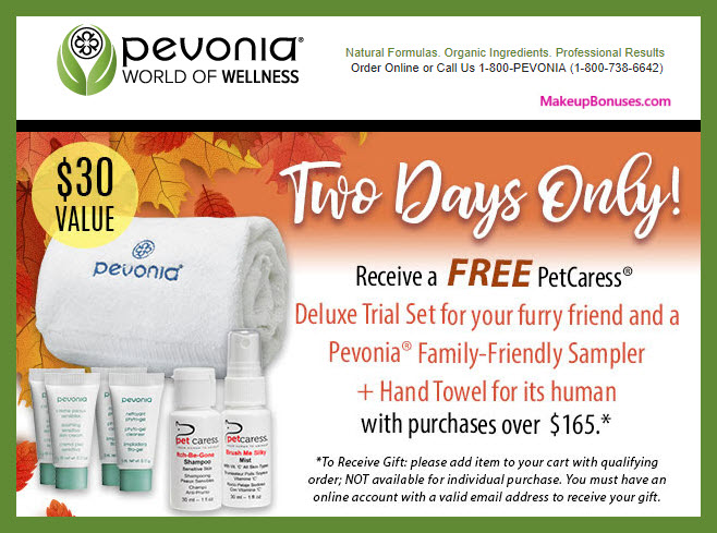 Receive a free 7-pc gift with $165 Pevonia purchase #pevonia