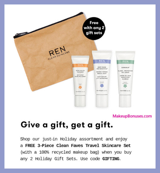 Receive a free 4-pc gift with 2+ Holiday Gift Sets purchase #RENskincare