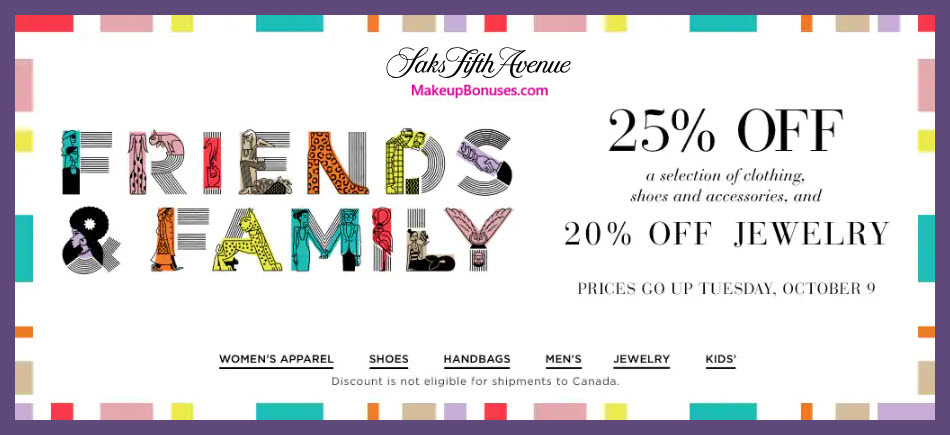Saks Fifth Avenue Sale - MakeupBonuses.com