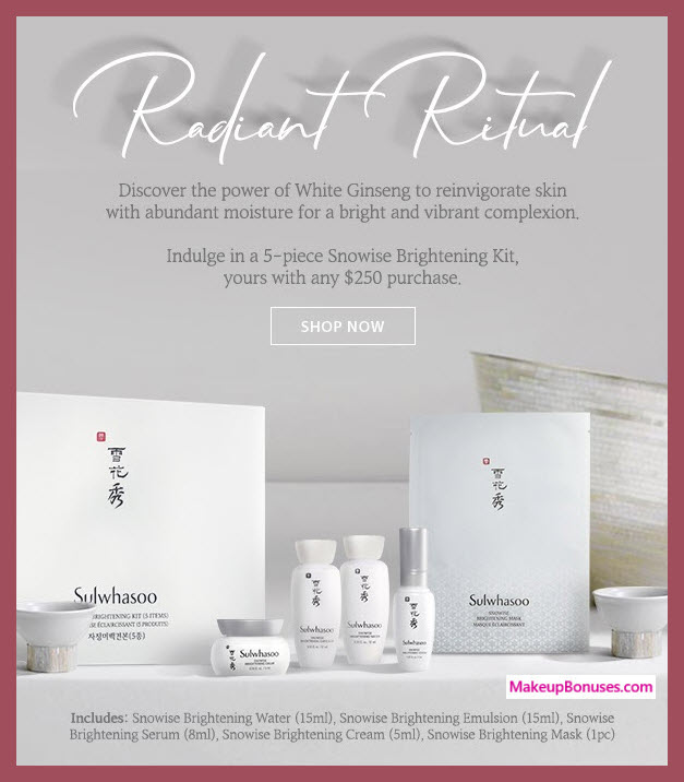 Receive a free 5-pc gift with $250 Sulwhasoo purchase #sulwhasooUS