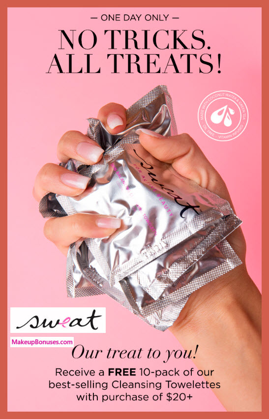 Receive a free 10-pc gift with $20 Sweat Cosmetics purchase #SweatCosmetics