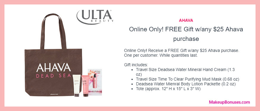 Receive a free 4-pc gift with $25 AHAVA purchase #ultabeauty