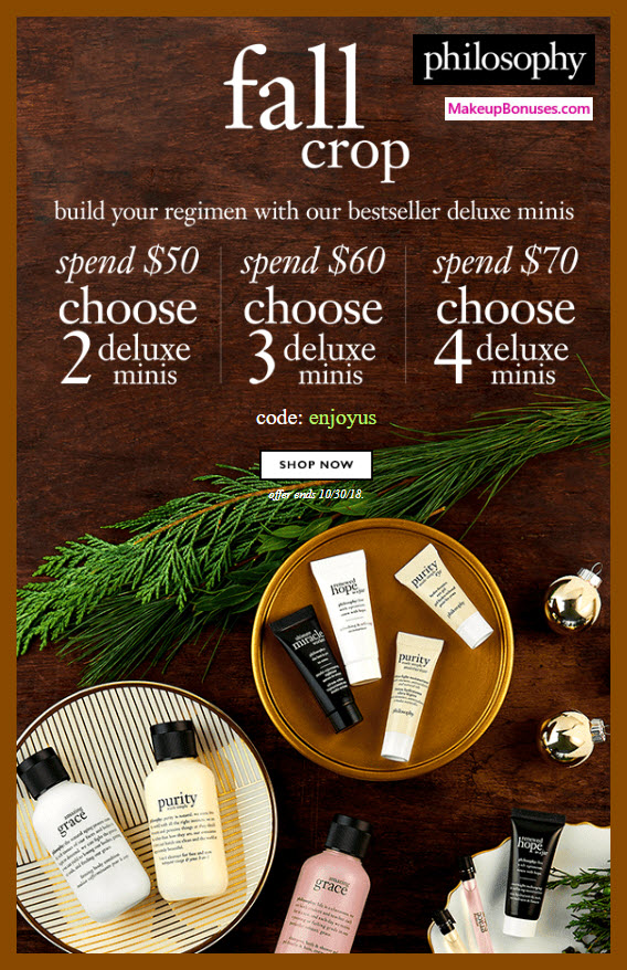 Receive your choice of 4-pc gift with $70 philosophy purchase #lovephilosophy