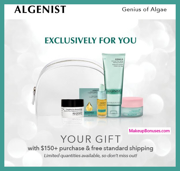 Receive a free 6-pc gift with $150 Algenist purchase #algenist
