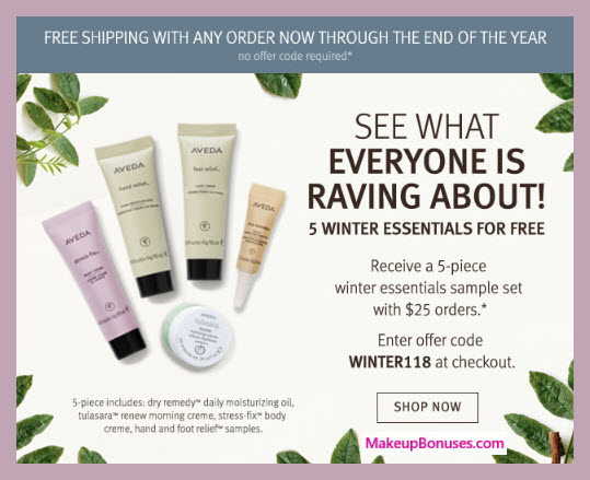 Receive a free 5-pc gift with $25 Aveda purchase #aveda