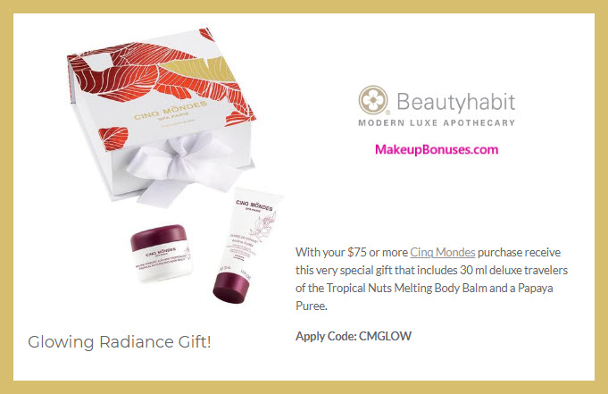 Receive a free 2-pc gift with $75 CINQ MONDES purchase #beautyhabit