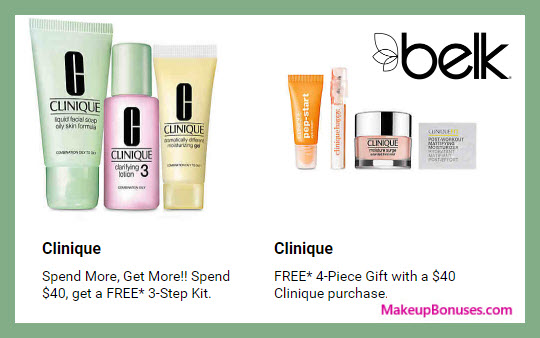 Receive a free 7-pc gift with $40 Clinique purchase #belk