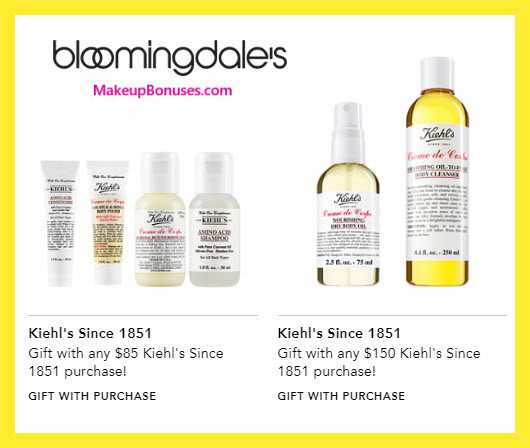 Receive a free 6-pc gift with $150 Kiehl's purchase #bloomingdales
