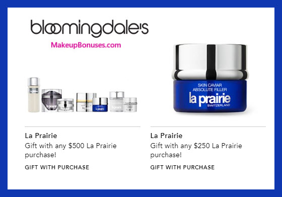 Receive your choice of 4-pc gift with $500 La Prairie purchase #bloomingdales
