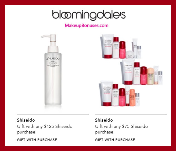 Receive a free 7-pc gift with $125 Shiseido purchase #bloomingdales