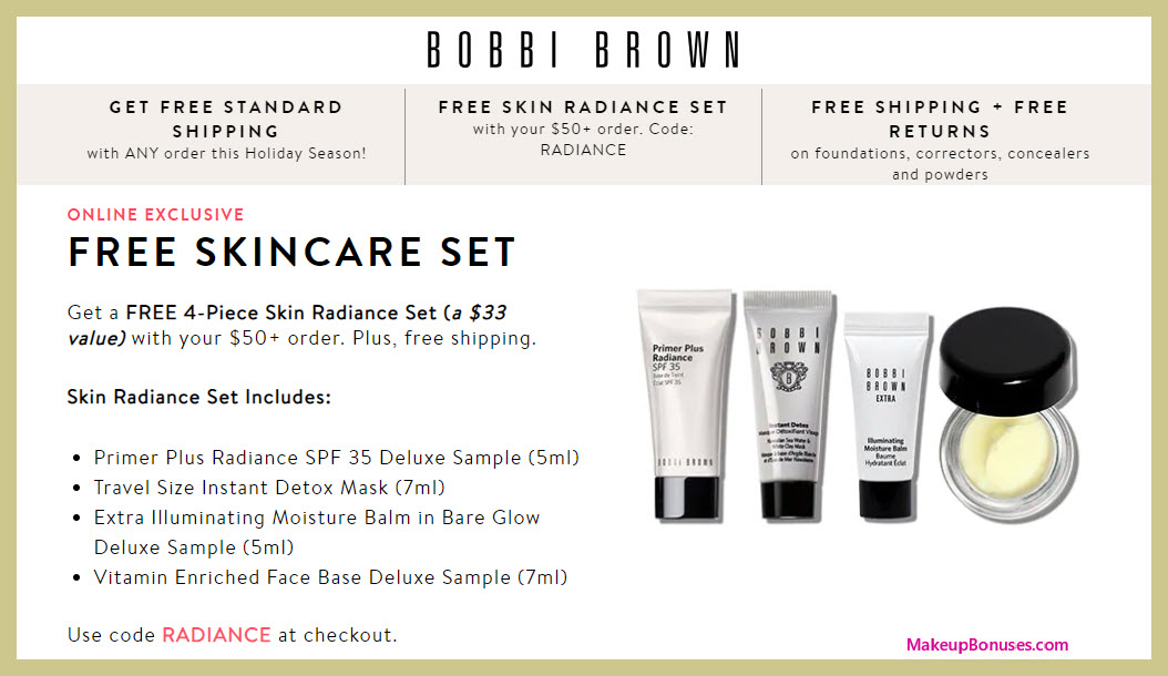 Receive a free 4-pc gift with $50 Bobbi Brown purchase #BobbiBrown