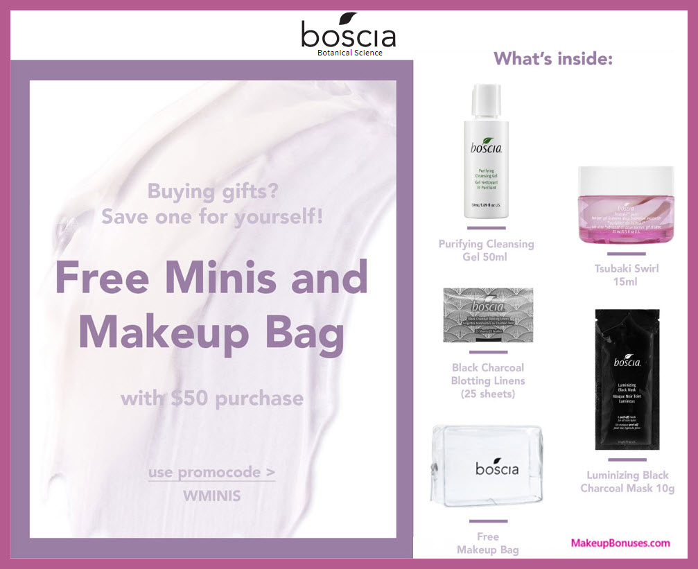 Receive a free 5-pc gift with $50 Boscia purchase #bosciaskincare