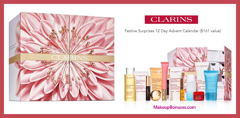 Festive Surprises 12 Day Advent Calendar - MakeupBonuses.com #clarinsus #clarinsusa #nordstrom
