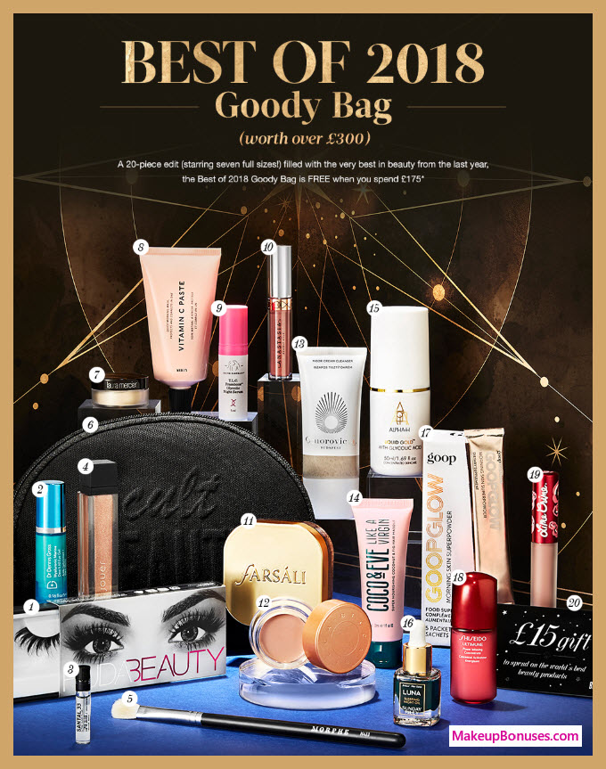Receive a free 20-pc gift with ~$228 (175 GBP) purchase #CultBeauty