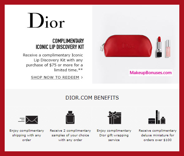 Receive a free 3-pc gift with $75 Dior Beauty purchase #