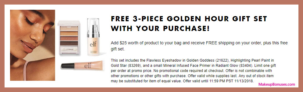 Receive a free 3-pc gift with $25 ELF Cosmetics purchase #elfcosmetics