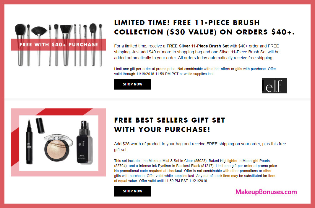 Receive a free 11-pc gift with $40 ELF Cosmetics purchase #elfcosmetics