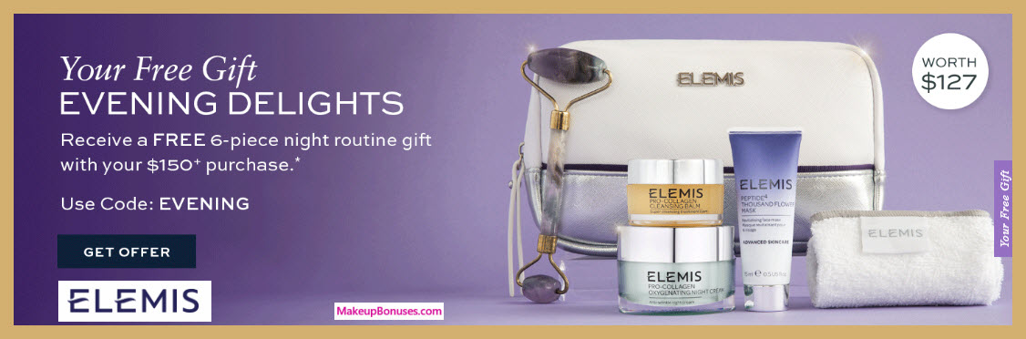 Receive a free 6-pc gift with $150 Elemis purchase #elemis