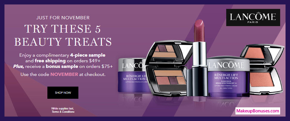 Receive a free 5-pc gift with $75 Lancôme purchase #lancomeUSA
