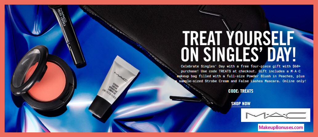 Receive a free 4-pc gift with $60 MAC Cosmetics purchase #MACcosmetics