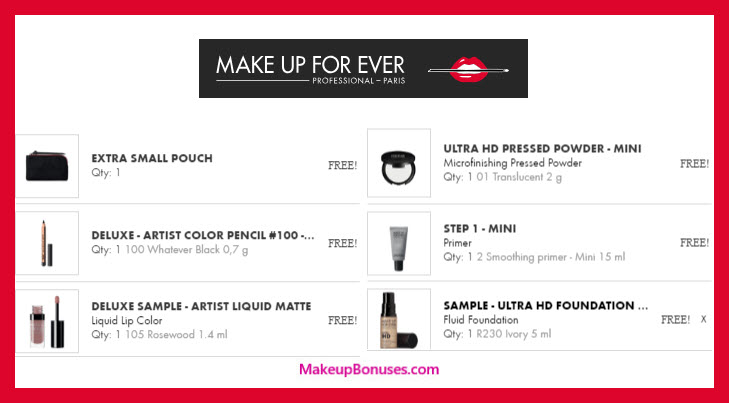 Receive a free 6-pc gift with $75 MAKE UP FOR EVER purchase #MAKEUPFOREVERus