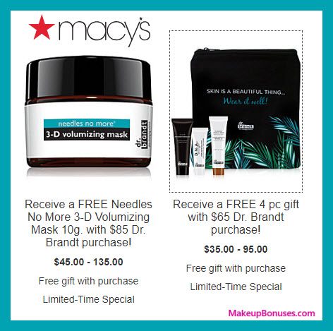Receive a free 4-pc gift with $65 Dr Brandt purchase #macys