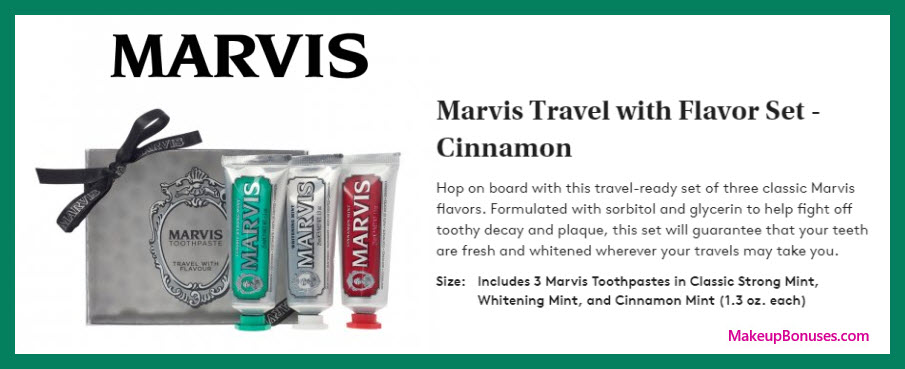 Authorized Retailer Marvis Travel with Flavour Set - MakeupBonuses.com #Dermstore