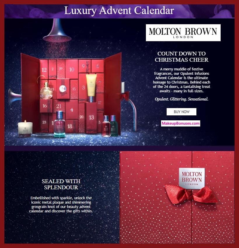 Opulent Infusions Advent Calendar - MakeupBonuses.com #MoltonBrownUSA #MoltonBrownUK