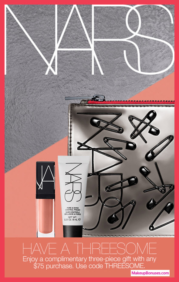 Receive a free 3-pc gift with $75 NARS purchase #