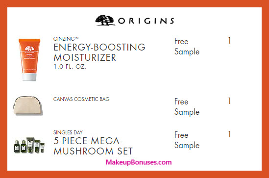 Receive a free 6-pc gift with $55 Origins purchase #origins