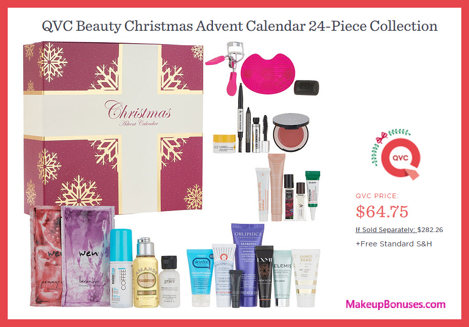 Beauty Christmas Advent Calendar 24-Piece Collection - MakeupBonuses.com #QVC