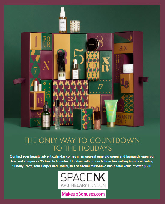 The Space NK Advent Calendar - MakeupBonuses.com #spacenkapothecary #spacenkusa #Spacenkbeauty