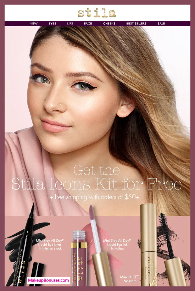 Receive a free 3-pc gift with $50 Stila purchase #StilaCosmetics