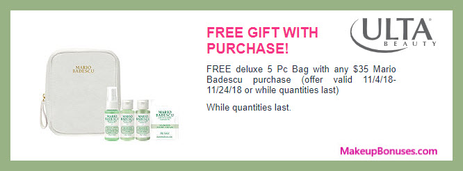Receive a free 5-pc gift with $35 Mario Badescu purchase #ultabeauty